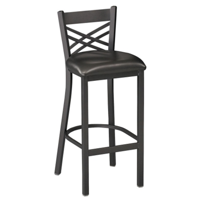 Cross-Back Stool with Black Frame