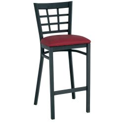Grid-Back Stool with Black Frame