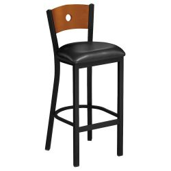 Circle-Back Stool with Wood Back and Black Frame