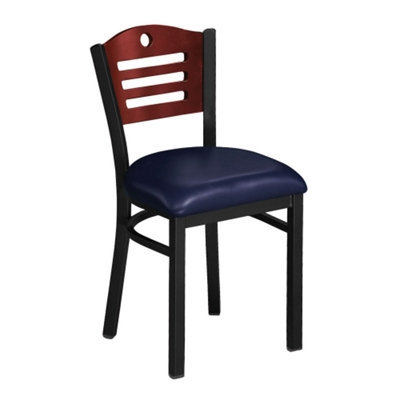 Designer-Back Chair with Wood Back and Black Frame