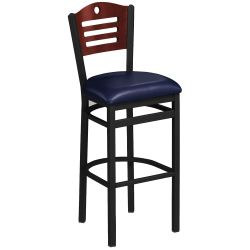 Designer-Back Stool with Wood Back and Black Frame
