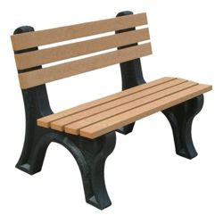 4'W Outdoor Bench with Backrest