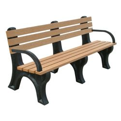 6'W Outdoor Bench with Backrest and Arms