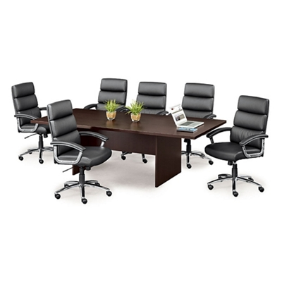 Segment Set of Six Faux Leather Conference Chairs