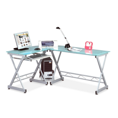 Reversible L-Shape Glass & Steel Desk