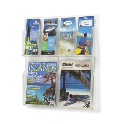 Clear Plastic Six Pocket Magazine and Pamphlet Rack