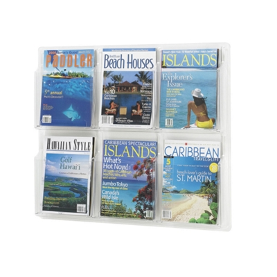 Clear Plastic Six Pocket Magazine Rack