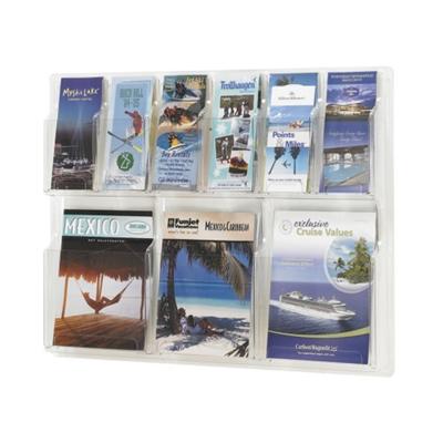 Clear Plastic Nine Pocket Magazine and Pamphlet Rack