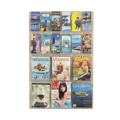 Clear Plastic 18 Pocket Magazine and Pamphlet Rack