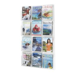 Clear Plastic Twelve Pocket Magazine Rack