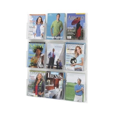 Economical Clear Plastic Nine Pocket Magazine Rack