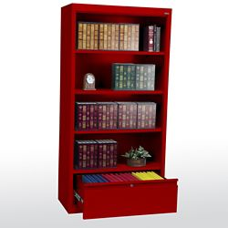 "Bookcase with File Drawer 72"" High"