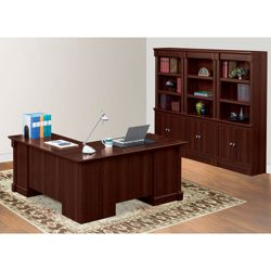 Palladia L-Desk with Bookcase Wall