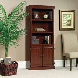 """71"""" H Five Shelf Traditional Bookcase with Doors"""