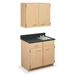 "Cabinet with Right Hand Sink and Wall Cabinet - 36""W"