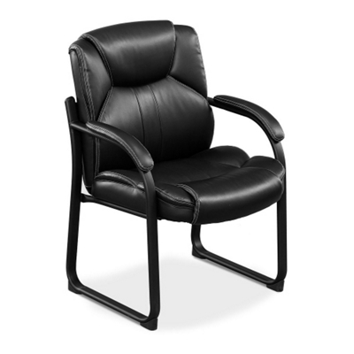 Merveilleux Omega Faux Leather Guest Chair With 350 Lb. Weight Capacity, 50838