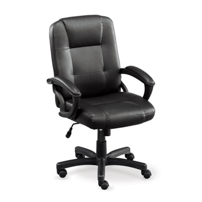 Stellar Faux Leather Mid-Back Chair with Memory Foam Seat