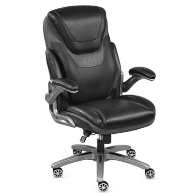 avanti faux leather executive chair with flip arms