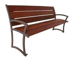 Wood Slat Bench with Back - 6 ft