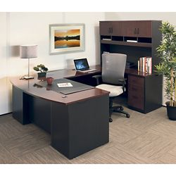 """72""""W Executive Bowfront U-Desk with Hutch and High Back Chair"""