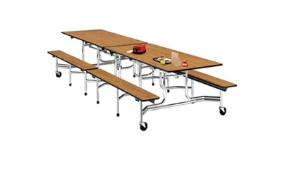12' Cafeteria Table with Bench Seating
