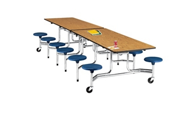 12' Cafeteria Table with Stool Seating