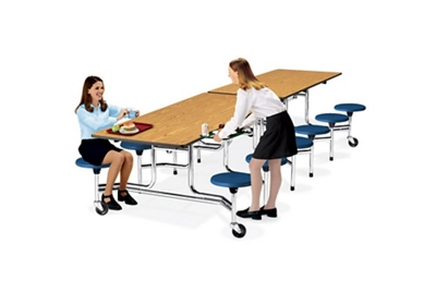 10' Cafeteria Table with Stool Seating