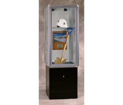 """24"""" Wide Lighted Chrome Tower Case with Base"""