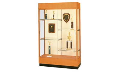 "Oak Frame Trophy Display Case with Fabric Back - 48""W x 70""H"
