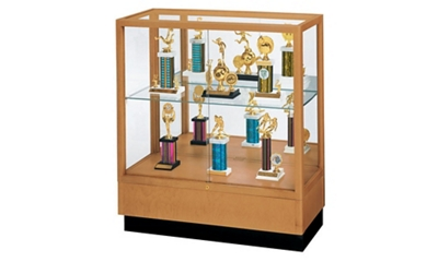"Oak Trophy Display Case with Mirror Back - 36""W x 40""H"