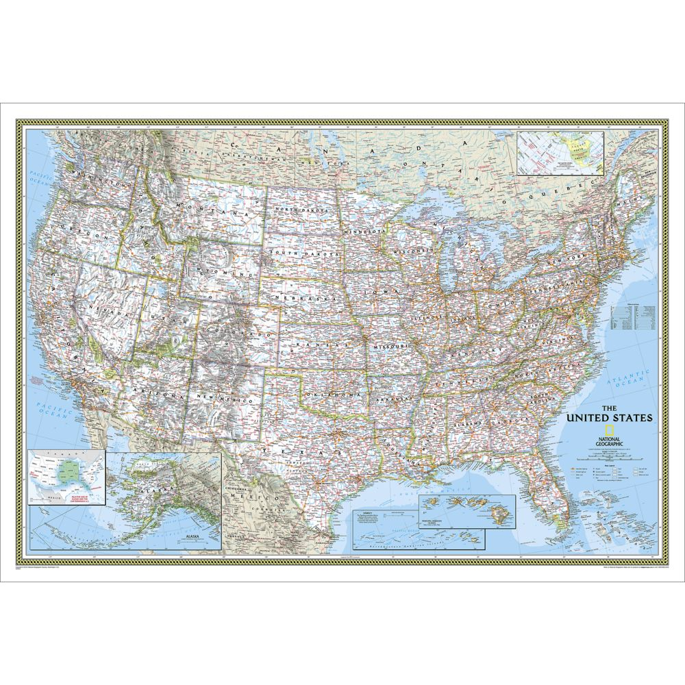 US Wall Maps Laminated US Map Posters National Geographic Store - Eastern us road maps with states and cities
