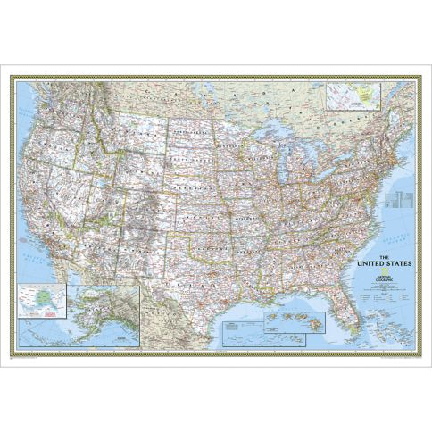 United States Classic Wall Map National Geographic Store - Us map geographic image