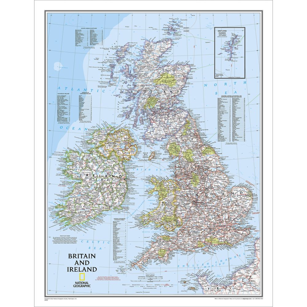 Britain and Ireland Classic Wall Map  National Geographic Store