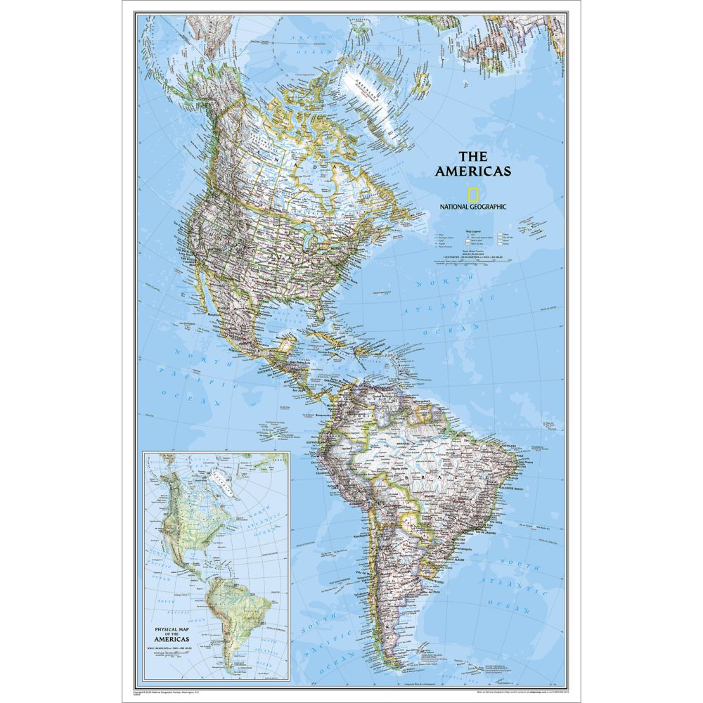 . the americas classic wall map  national geographic store