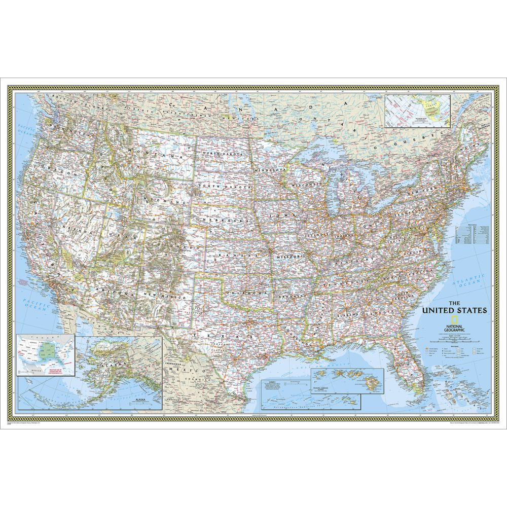 United States Classic Wall Map Enlarged And Laminated National - Large us wall map