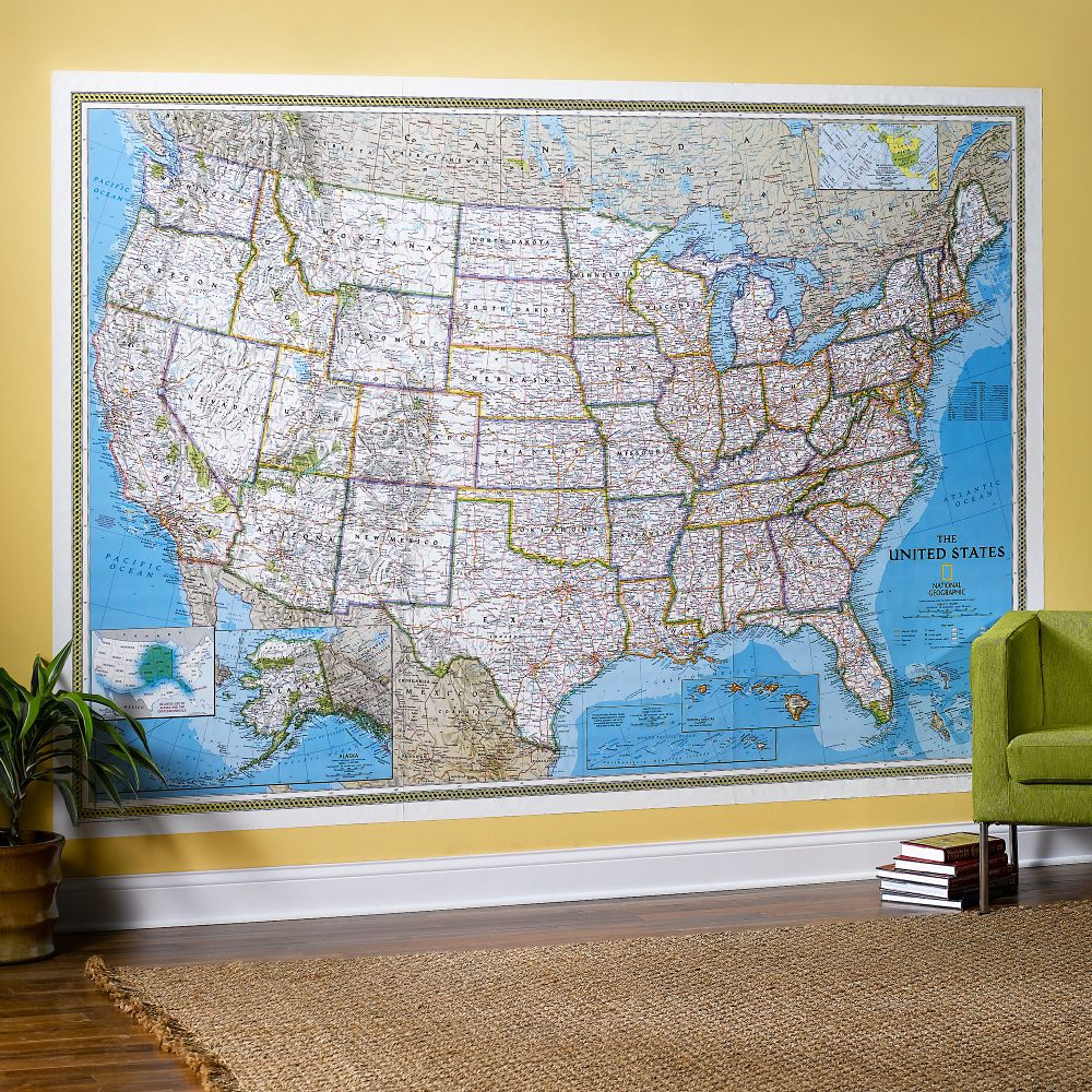 US Wall Maps Laminated US Map Posters National Geographic Store - Large us road map poster