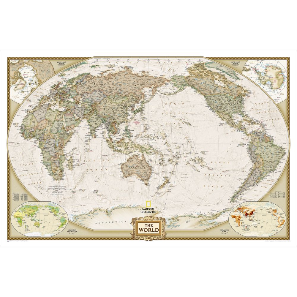 world executive pacific centered wall map enlarged and. Black Bedroom Furniture Sets. Home Design Ideas