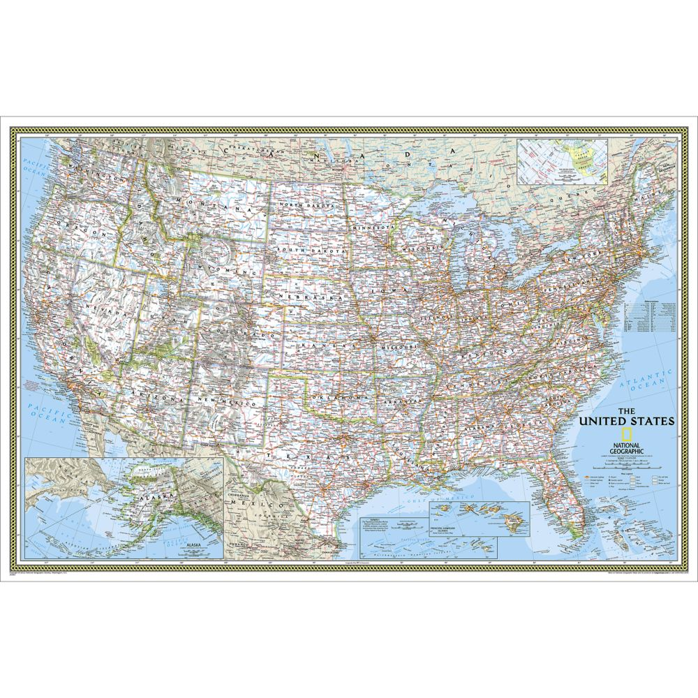 US Wall Maps Laminated US Map Posters National Geographic Store - Classroom size map of us