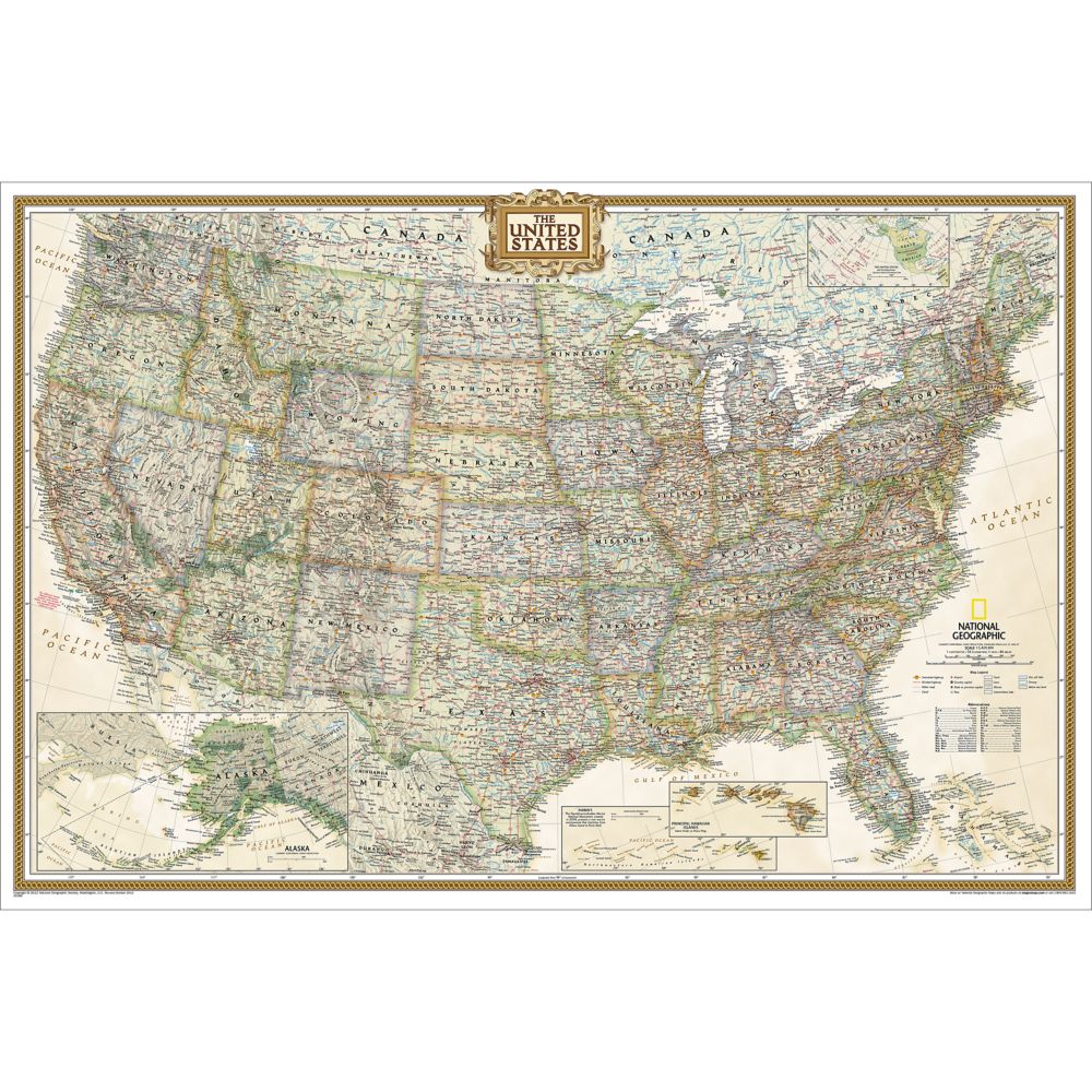 United States Executive Wall Map Poster Size National - Map of usa with states marked