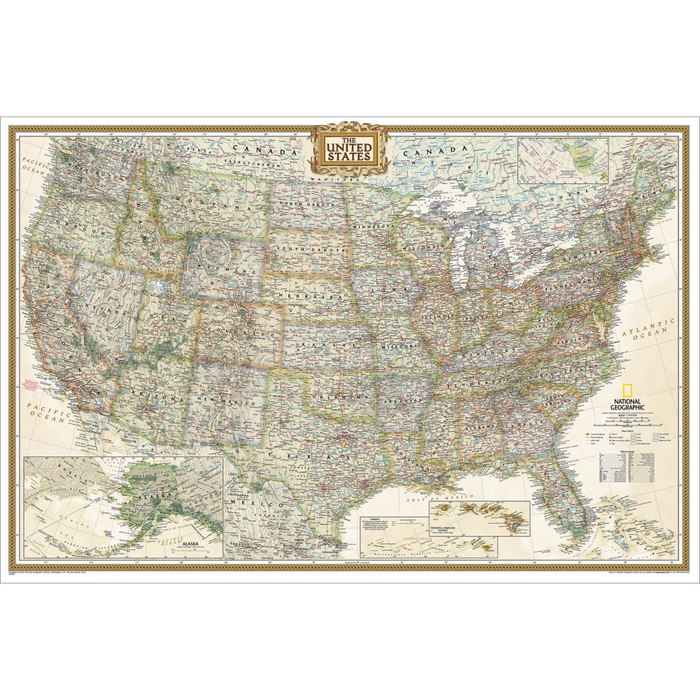United States Executive Wall Map Poster Size And Laminated - Large laminated us map