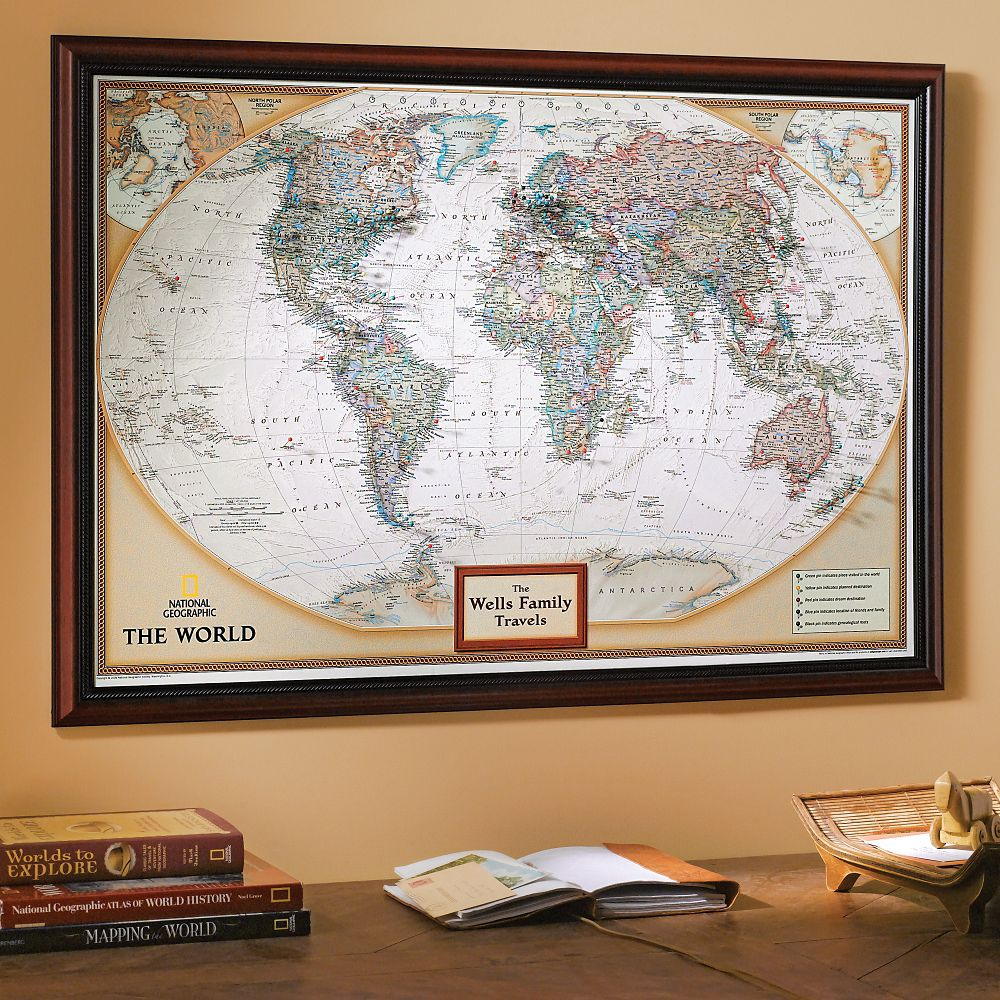 Framed laminated wall maps national geographic store national geographic my world personalized map earth toned sciox Images