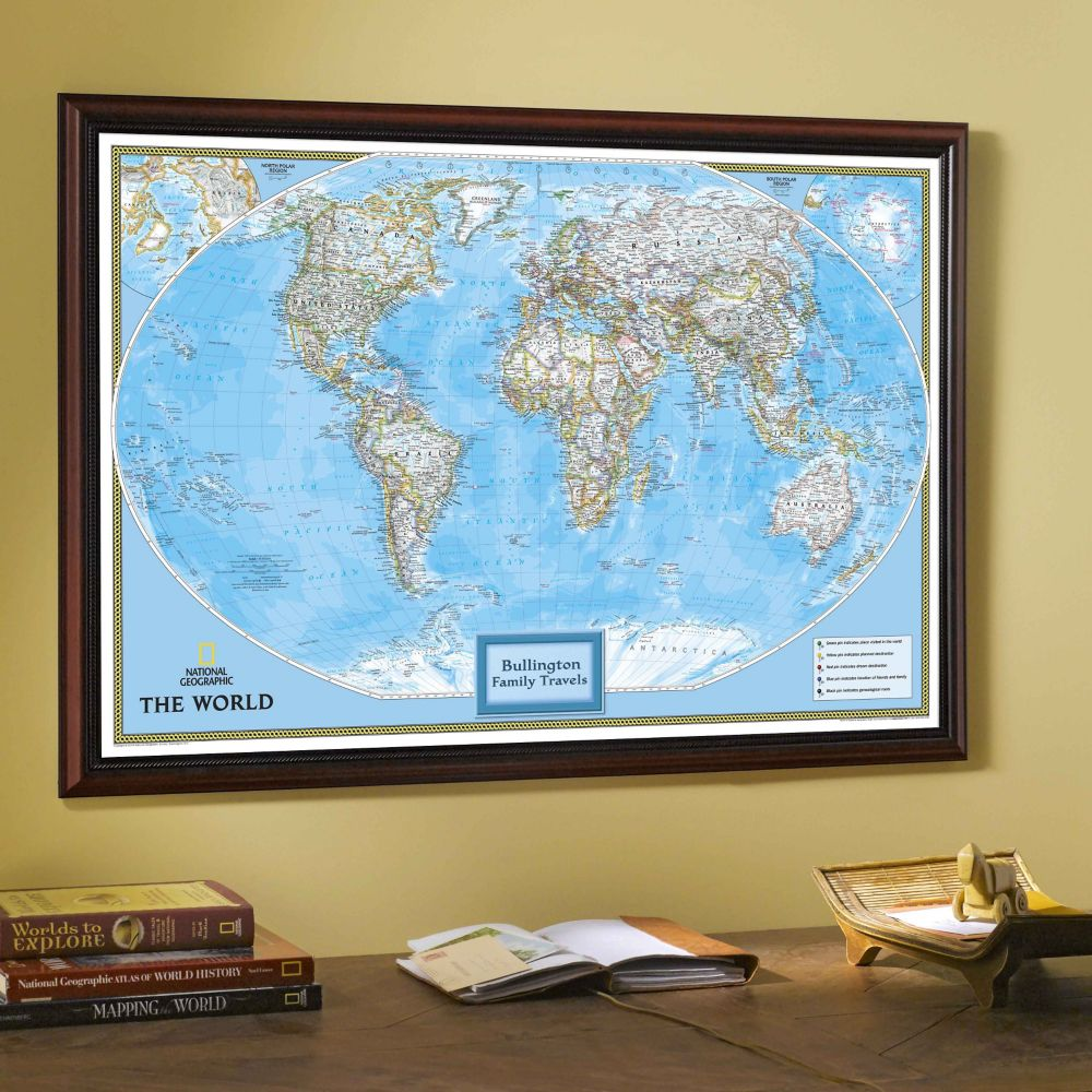 National Geographic My World Personalized Map Classic - Us map with world map in the corner