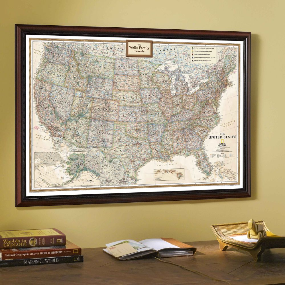 US Wall Maps Laminated US Map Posters National Geographic Store - Us map with geographical features