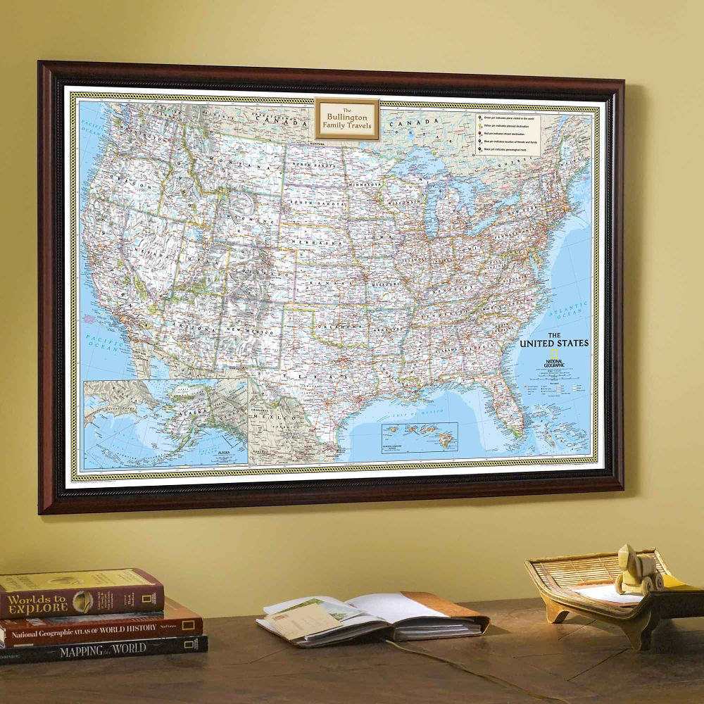 Framed Laminated Wall Maps National Geographic Store - Wall maps of us cities