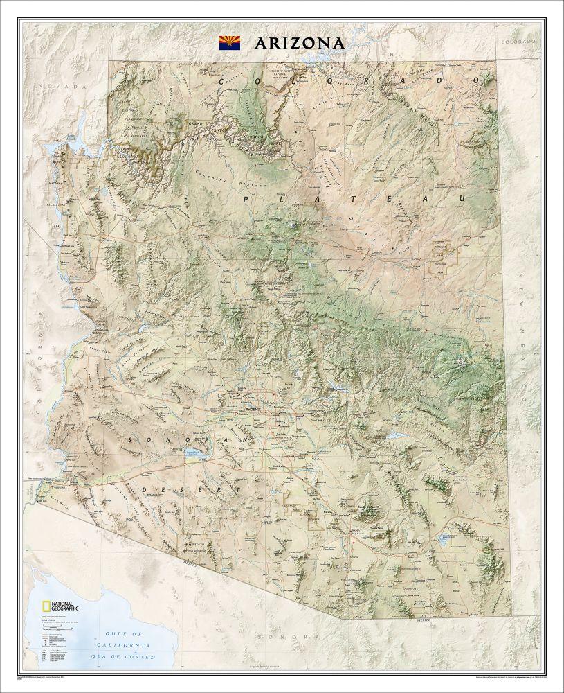 Arizona Wall Map Laminated National Geographic Store - Map arizona