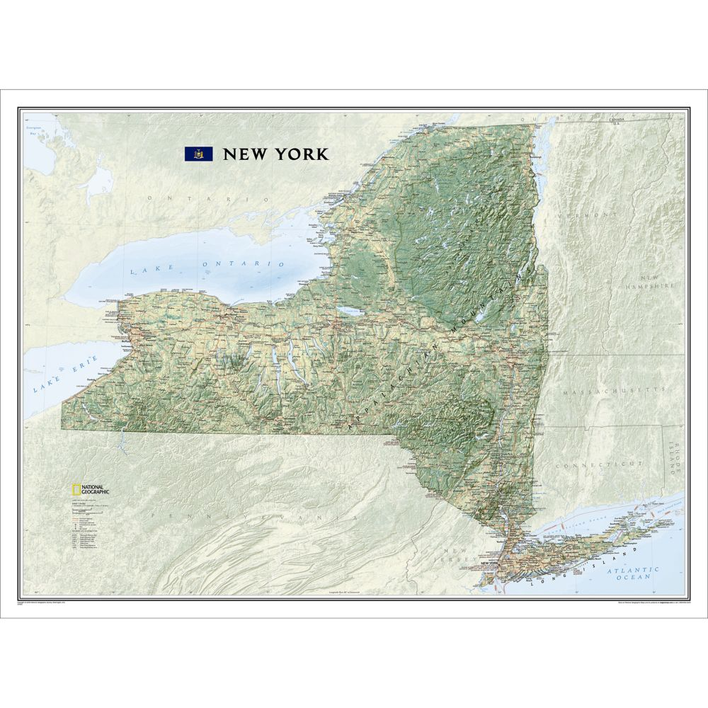 New York State Wall Map National Geographic Store - New york state map