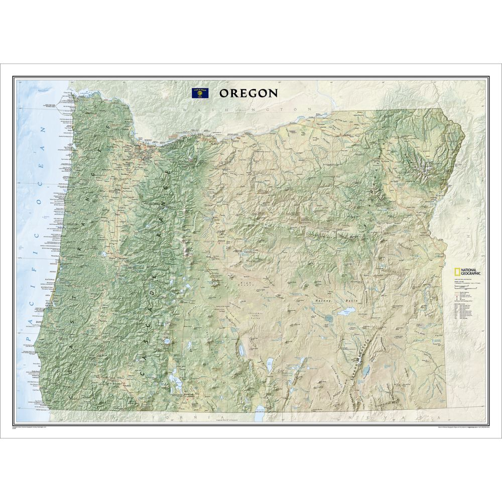 Oregon Wall Map National Geographic Store - State map of oregon