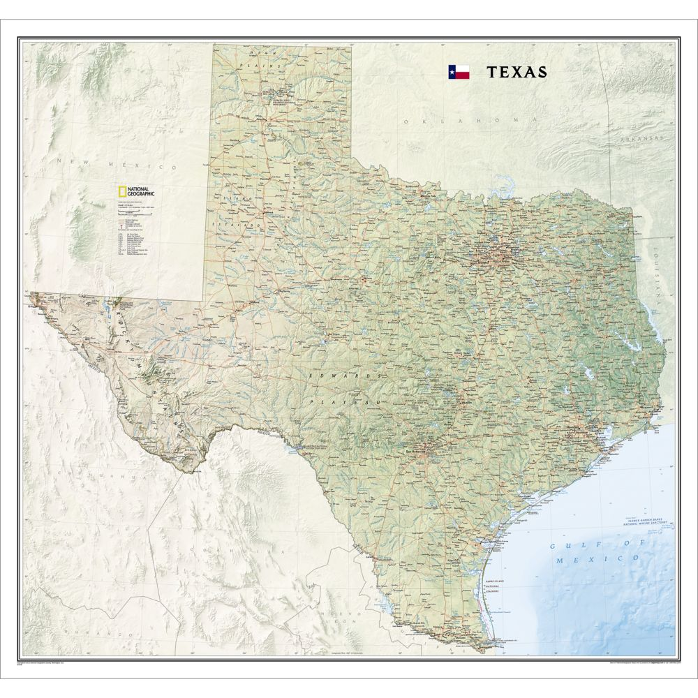Texas Wall Map National Geographic Store - Texas rivers and lakes map
