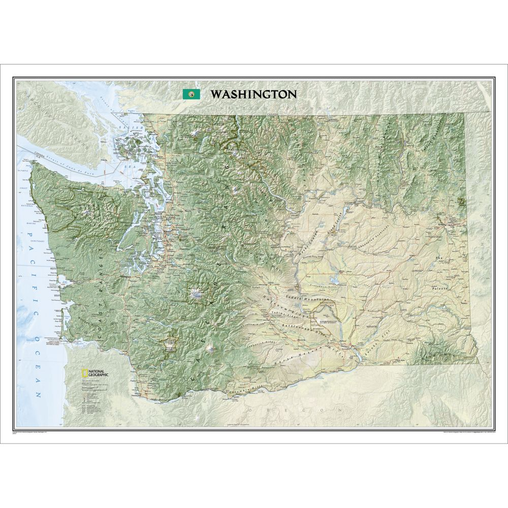Washington State Wall Map National Geographic Store - Washinton state map