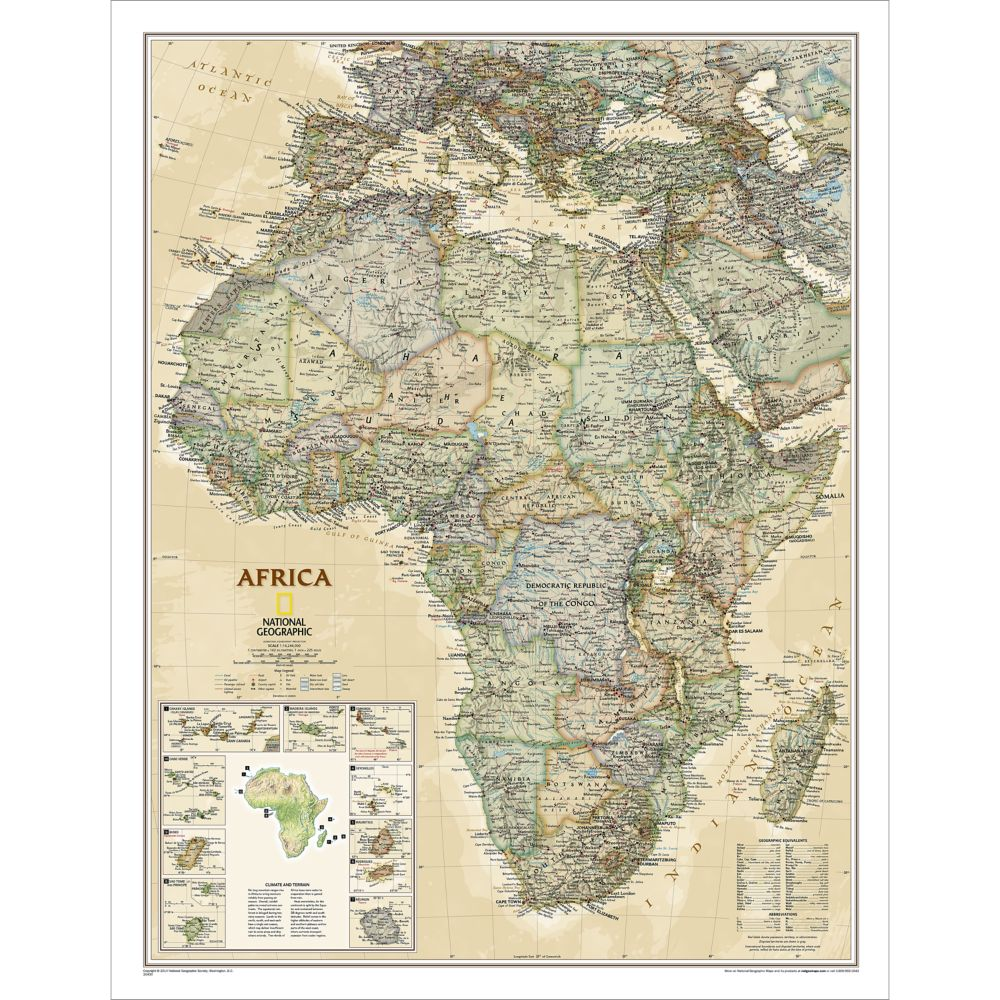 Africa Executive Wall Map National Geographic Store - Map of egypt national geographic